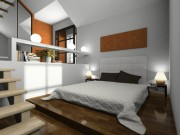 View on the modern bedroom 3D