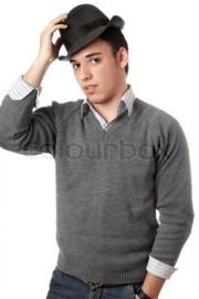 Handsome man wearing black hat