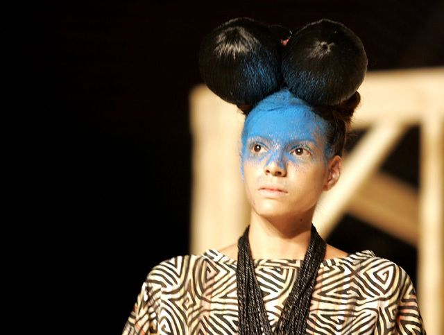 A model displays a creation of Brazilian designer Fraga during Colombiamoda fashion show in Medellin