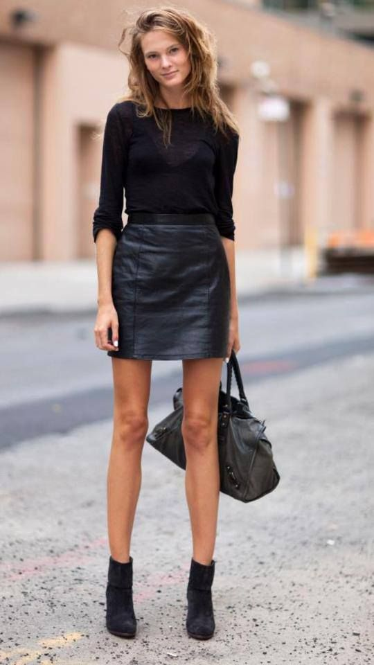 All-Black Outfit with Leather Skirt