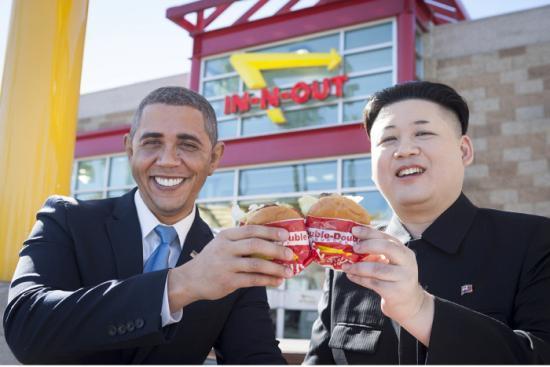 オバマさんと金正恩さんのツーショット1
